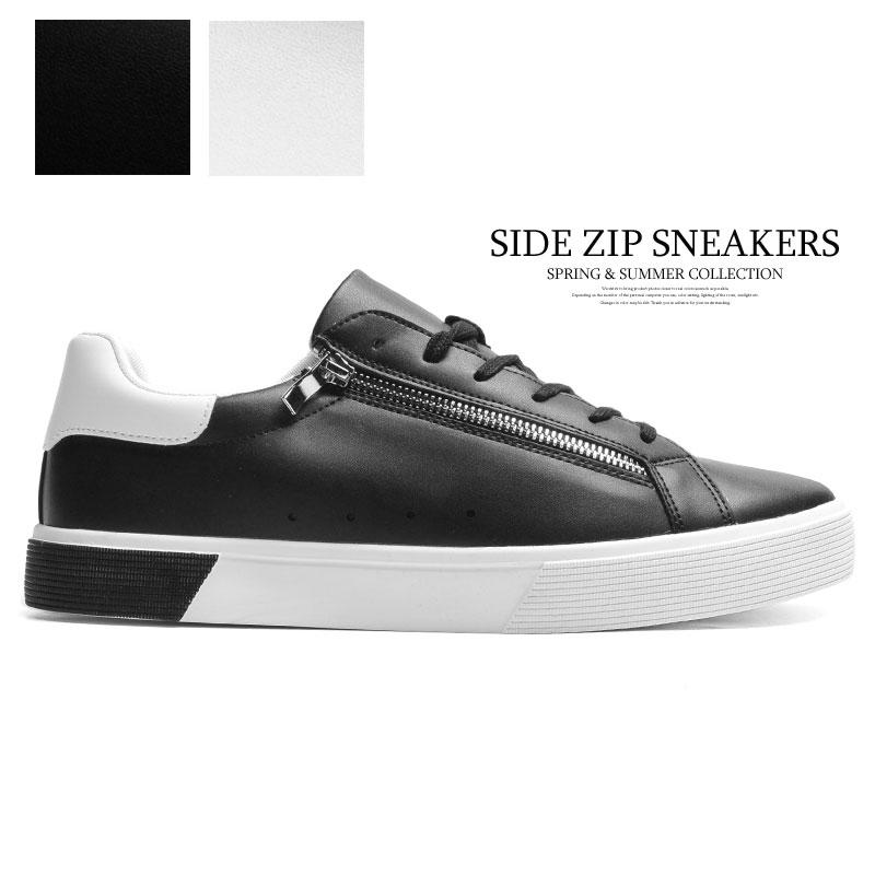 スニーカー 並行輸入品 おしゃれ ブランド サイドジップ ローカットスニーカー メンズ 白 [再販ご予約限定送料無料] 黒 カジュアルシューズ カジュアルスニーカー 厚底 ホワイト 通勤 シューズ 通学 紐靴 2021新作 ブラック 靴 紐 韓国