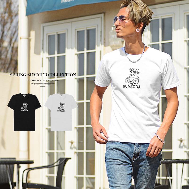 送料無料新品 メンズ Tシャツ 半袖 ベアプリント クルーネック 黒 春夏 夏服 2021新作 通信販売 熊 大人カジュアル 白