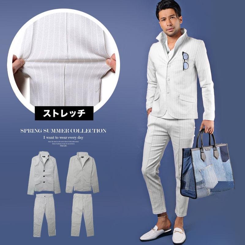 日本メーカー新品 セットアップ テーラードジャケット おしゃれスーツ メンズ 春 夏 ドットストライプ M ついに入荷 XL チョイ悪 ちょいワル 2021新作 大人カジュアル L きれいめ