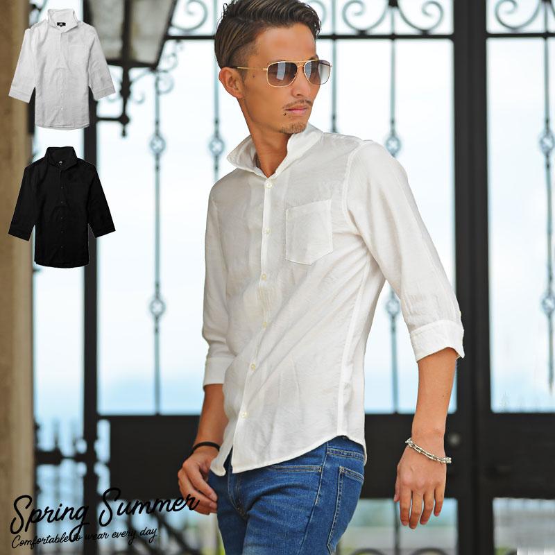 7分袖シャツ 年中無休 メンズ カジュアルシャツ 夏服 100%品質保証! ちょいワル 無地 ワイヤー入り7分袖シャツ 春服