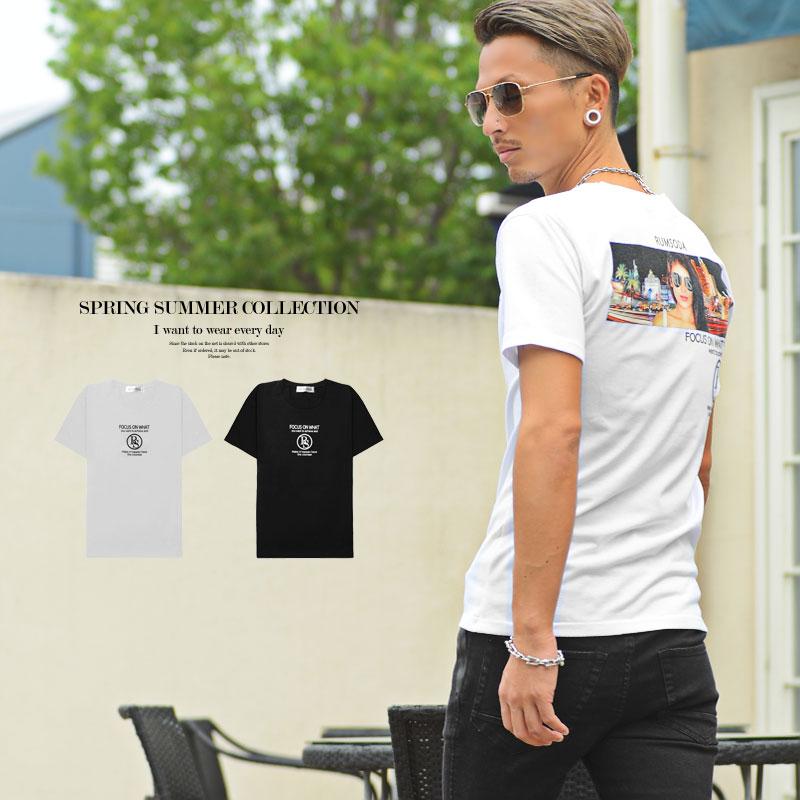 当店一番人気 Tシャツ メンズ プリント ガールズフォト バックプリント クルーネック 白 半袖 ユニセックス 2021新作 黒 日本限定