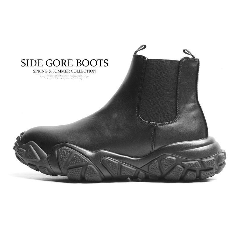 メンズ ショートブーツ ブーツ 黒 安心の定価販売 ハイカットスニーカー 最新号掲載アイテム サイドゴアブーツ スニーカー おしゃれ 厚底 くつ ブラック 韓国 靴 カジュアルシューズ 2021新作 シューズ ブランド