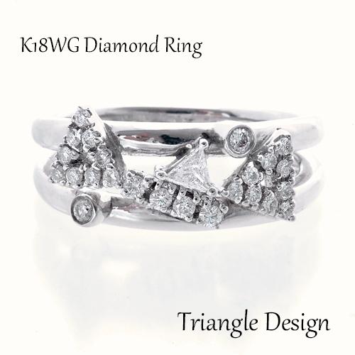 <title>三角 丸 四角 ダイヤモンドで図形をイメージしたデザイン 18金のホワイトゴールドとダイヤモンドをふんだんに使った一品 リング 現品 K18 ホワイトゴールド ダイヤモンド トライアングル 天然 ダイヤ 750 指輪 高級 ジュエリー 18金</title>