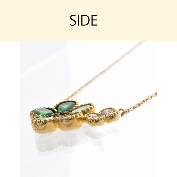 ネックレス k18 18k グリーンガーネット ダイヤモンド レディース チェーン ゴールド 花 フラワー イエローゴールド ガH2IE9bWYeD