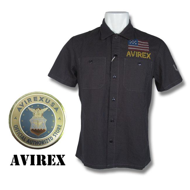 AVIREX(アヴィレックス) 半袖 アメリカ国旗 刺繍入り ミリタリーシャツ チャコール グレー 6135058 col.19 アビレックス 通販 通信販売