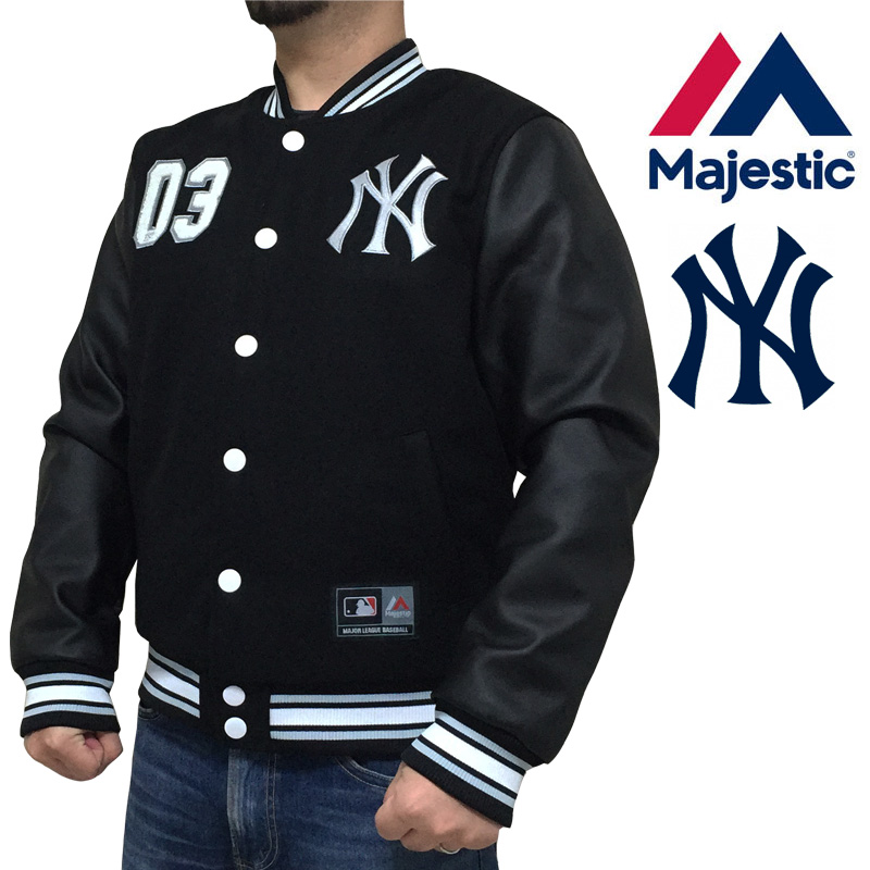 Majestic マジェスティック スタジャン ニューヨークヤンキース New York Yankees NYY ワッペン 刺繍 ウール×フェイクレザー MM23-NYK-0047 ブラック 黒 合成皮革 メジャーリーグ ベースボール スタジアムジャンパー ジャケット あす楽 明日楽