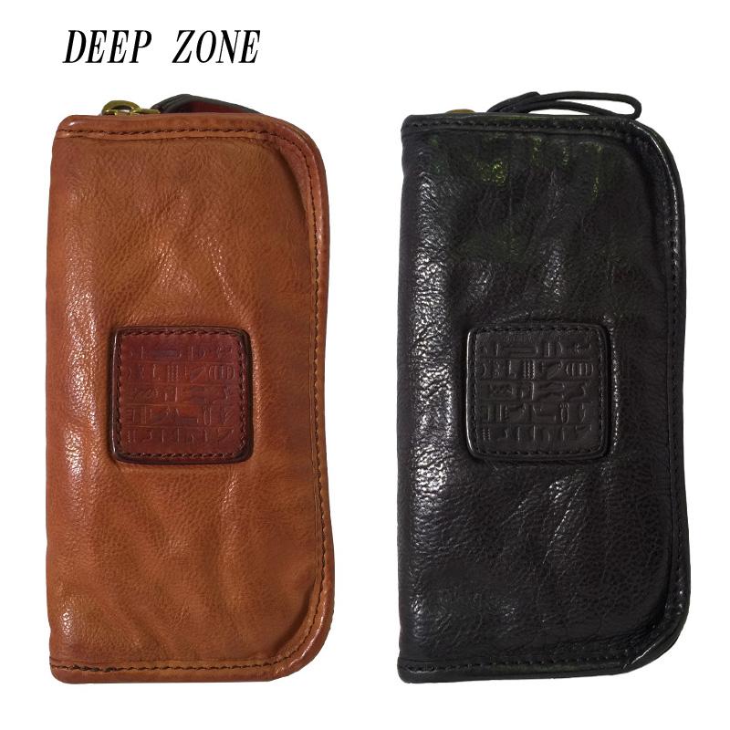 DEEP ZONE ディープゾーン 長財布 メンズ 本革 レザー ラウンドファスナー アンティーク ロングウォレット ブラック ブラウン 箱無し