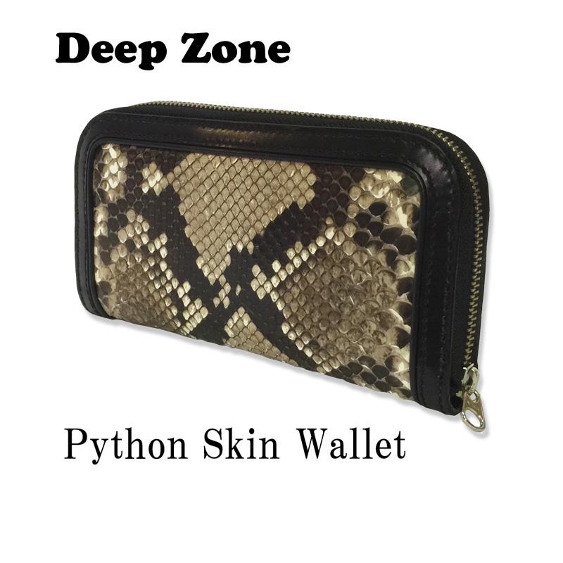 DEEP ZONE ディープゾーン 蛇革×牛革 パイソン レザーウォレット 長財布 メンズ 財布 サイフ ウォレット レザーウォレット 本革 箱無し
