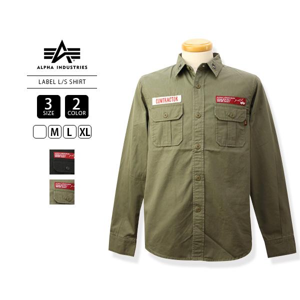 【送料無料】ALPHA アルファ/長袖シャツ ジャングルシャツ フラップポケット 刺繍 ワッペン ミリタリー LABEL L/S ALPHA INDUSTRIES シャツ メンズ /TS5042