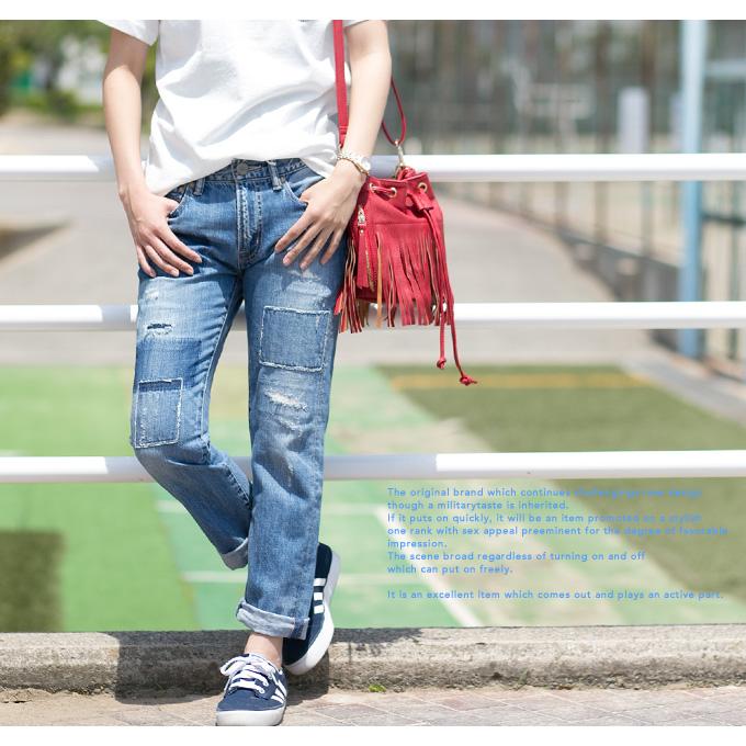 男朋友破坏牛仔裤 C1304 / 妇女 / 裤子 / 牛仔 / 损坏 / 复古 / 圆锥 / 涂料 / 休闲