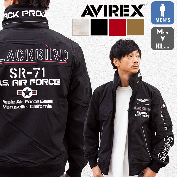 【 AVIREX アヴィレックス 】 ブラックバード スタンドジップ ジャケット BLACKBIRD ZIP JACKET 6102133 / アウター トップス メンズ フライトジャケット ミリタリー アメカジ カジュアル ファッション ブランド