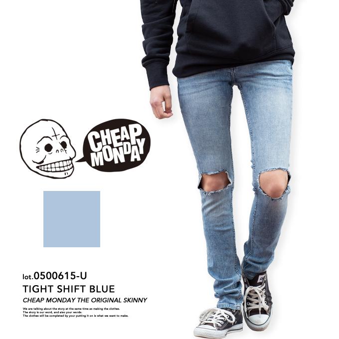 【CHEAP MONDAY チープマンデー】Tight Shift Blue タイトスキニークラッシュデニムパンツ 0500615-U/メンズ/レディース/ユニセックス/デニム/ジーンズ/タイト/スキニー/クラッシュ/ダメージ/SKINNY/TIGHT/ボトムス/パンツ/チープマンデイ
