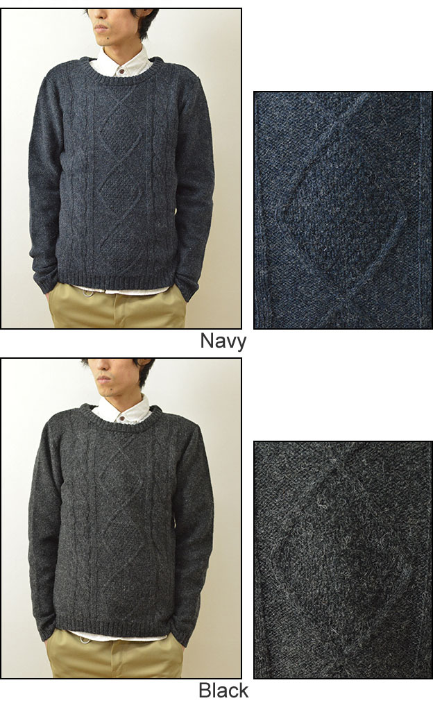 4db38299990d JEANSBUG  Revo Revo.() Shetland wool cable knit sweater mens crew ...