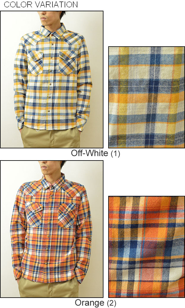 3004c873a8a KRIFF MAYER (Cliff Meyer) checked pattern western York slim fitting banian  flannel shirt check shirt western shirt long sleeves