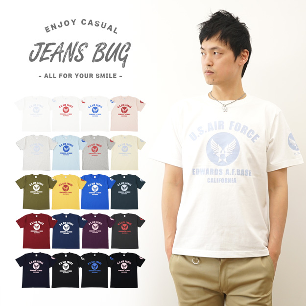 """U. S. AIR FORCE CA ' JEANSBUG ORIGINAL PRINT T-SHIRT オリジナルユーエスエアフォース military print short sleeve T shirt USA air force USAF air force us military"