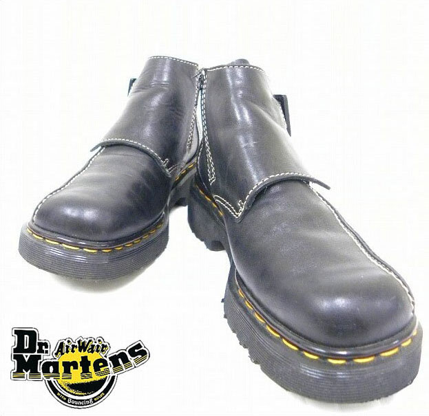 Dr.MARTENS (doctor Martin) USED zipper & belt shoes leather shoes middle cut boots