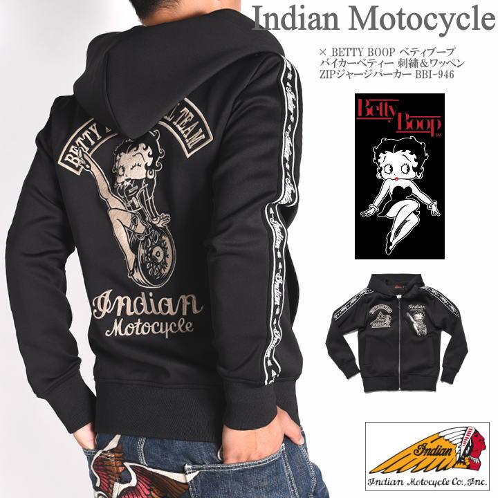 INDIAN MOTOCYCLE インディアンモトサイクル × BETTY BOOP ベティブープ コラボ パーカー バイカーベティー 刺繍&ワッペン ZIPジャージパーカー BBI-946-BLACK