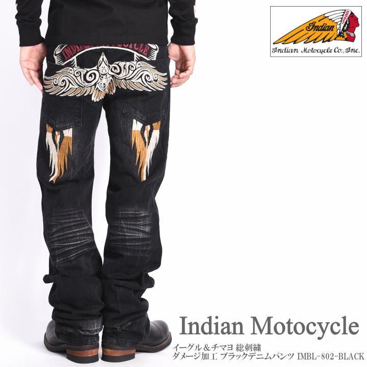 INDIAN MOTOCYCLE インディアンモトサイクル ジーンズ イーグル&チマヨ 総刺繍 ダメージ加工 ブラック デニムパンツ IMBL-802-BLACK
