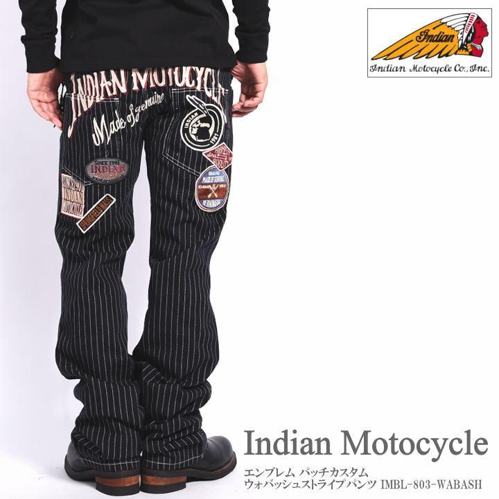 INDIAN MOTOCYCLE インディアンモトサイクル ジーンズ エンブレム パッチカスタム ウォバッシュストライプパンツ IMBL-803-WABASH