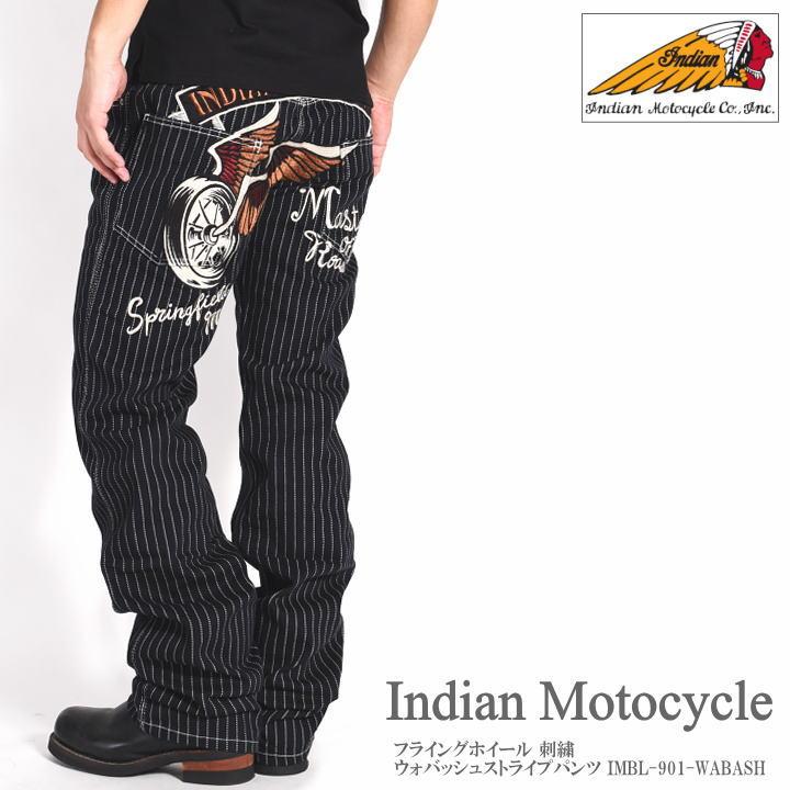 INDIAN MOTOCYCLE インディアンモトサイクル ジーンズ フライングホイール 刺繍 ウォバッシュストライプパンツ IMBL-901-WABASH