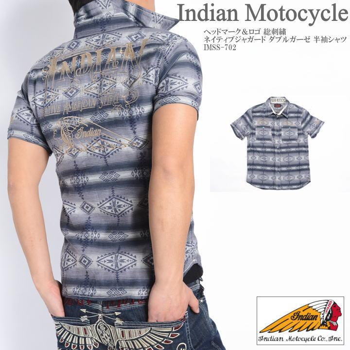 インディアンモトサイクル INDIAN MOTOCYCLE 半袖シャツ ヘッドマーク&ロゴ 総刺繍 ネイティブジャガード ダブルガーゼ 半袖シャツ IMSS-702-CHARCOAL