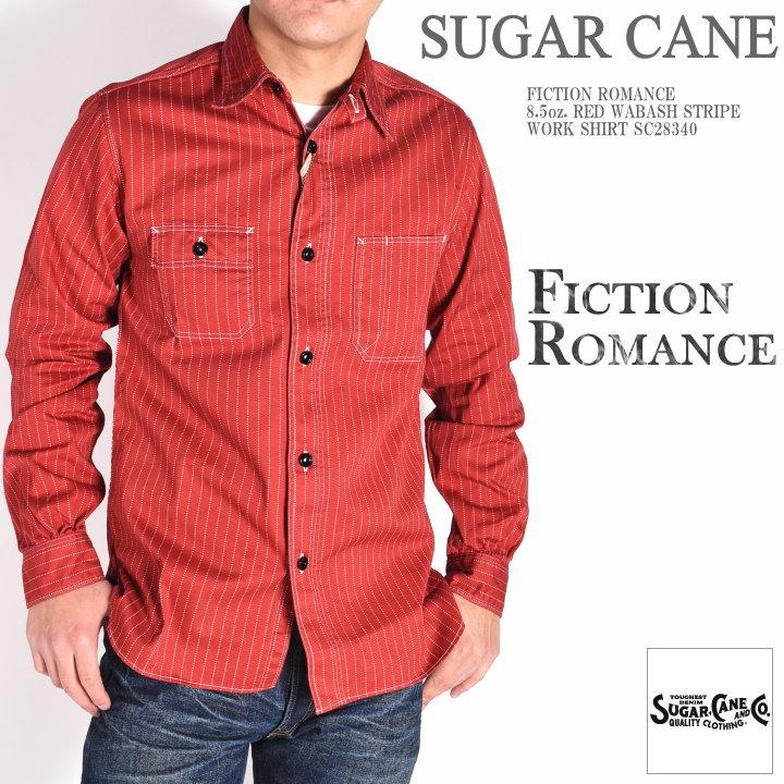 SUGAR CANE シュガーケーン ウォバッシュ シャツ FICTION ROMANCE 8.5oz. レッドウォバッシュストライプ 長袖ワークシャツ SC28340【2020春新作】
