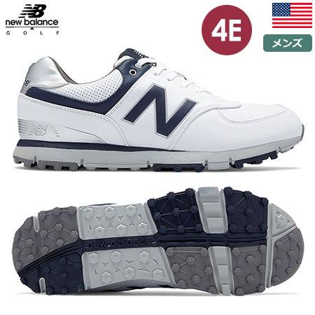 ニューバランス メンズ NB 574 スパイクレスシューズ (4E) NBG574-GRS newbalance White/Navy USA直輸入品【エクストラワイド】