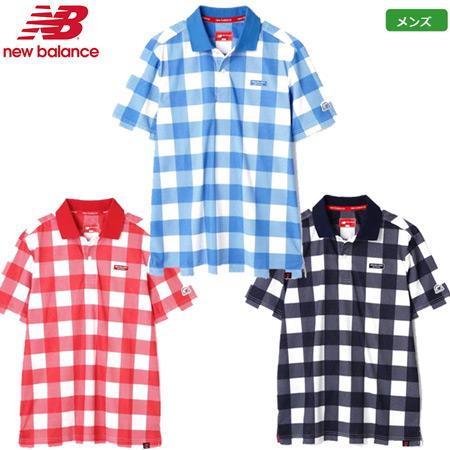 ニューバランス 2019 メンズ コンピューターメッシュ ヘッドウェアジャガード × ビッグブロックチェックプリント 半袖ポロシャツ 0129160010 レッド ブルー ネイビー 日本正規品