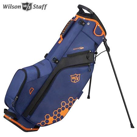 ゴルフ キャディバッグ スタンドバッグ 未使用品 ゴルフバッグ 軽量 9.5型 5分割 土日祝も発送 ウイルソン スタンド ブラック オレンジ 国際ブランド WILSON FEATHER CARRY ブルー BAG STAFF