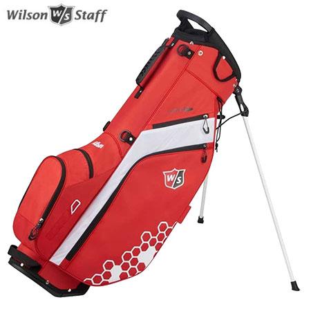 ゴルフ キャディバッグ スタンドバッグ 買い物 ゴルフバッグ 軽量 9.5型 新品未使用 5分割 土日祝も発送 ウイルソン CARRY BAG スタンド レッド WILSON ホワイト FEATHER STAFF
