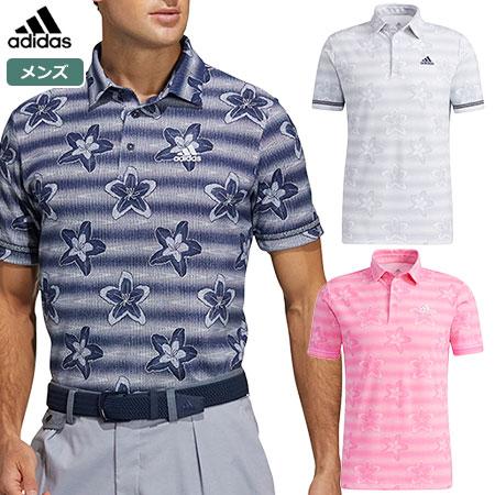 ゴルフウェア 初売り メンズ 半袖 ポロシャツ 2021SS アディダス 23088 フラワープリント 全国どこでも送料無料 adidas 半袖シャツ 2021春夏モデル