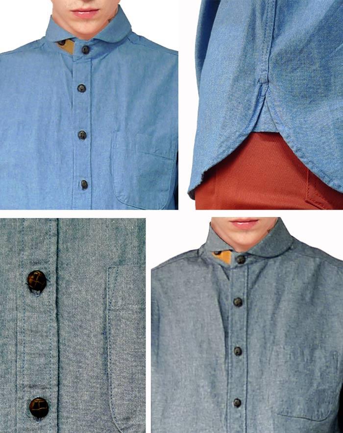 """像""""皮蛋面包""""穿着的衬衫那样的领子设计丹葛利·衬衫!作为能选的2彩色的锁头风格,漂亮的系统,街道,shambureshatsu,长袖子衬衫,粗斜纹布衬衫05P01Jun1405P01Nov14"""