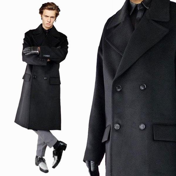 6fd70834f30 Long coat men wool coat double coat / long length black wool men coat wool  coat winter outer fashion system lock punk fashion おしゃれきれいめ ...