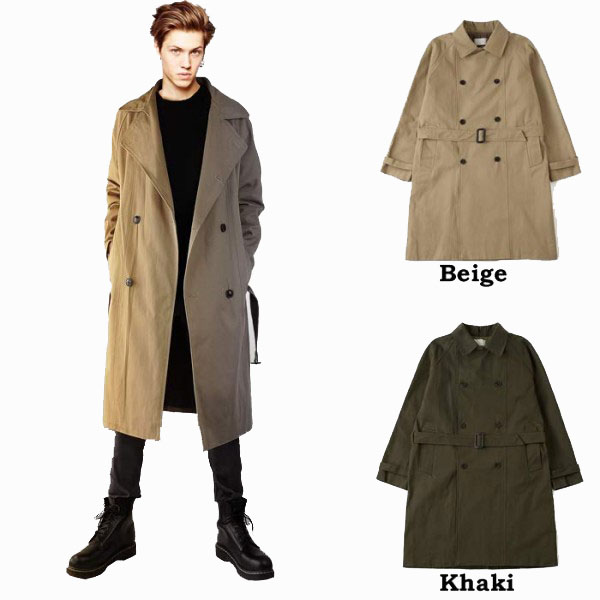 Jellybeans Select Double Trench Coat Choice 2 Color Mens Coat Long
