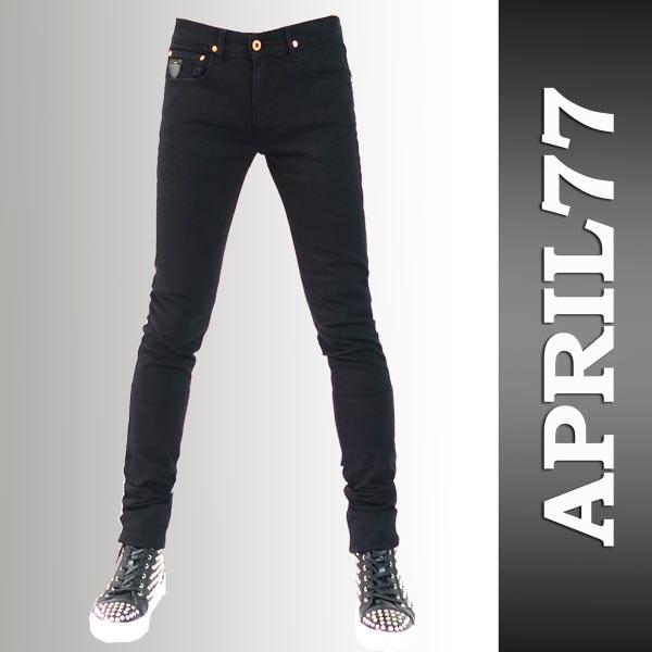 APRIL77(4月77)Joey Hi-Standard Black,紧身4月77,乔伊高标准april77,APRIL 77,锁头时装,黑色金鸡纳霜紧身牛仔裤,紧身的粗斜纹布,紧身的牛仔裤(秋天)