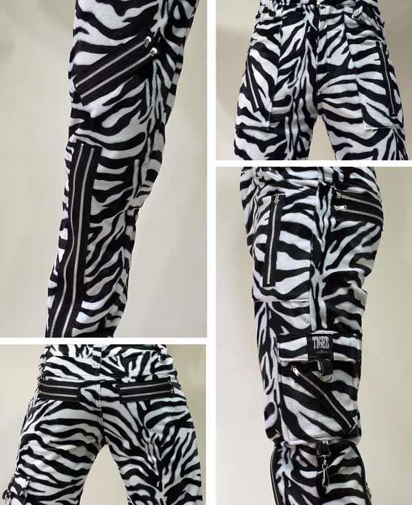 类型斑马图案拉链裤 ! 老虎的伦敦 (老虎的) 在役斑马裤朋克时尚摇滚时尚,所以摇滚,朋克