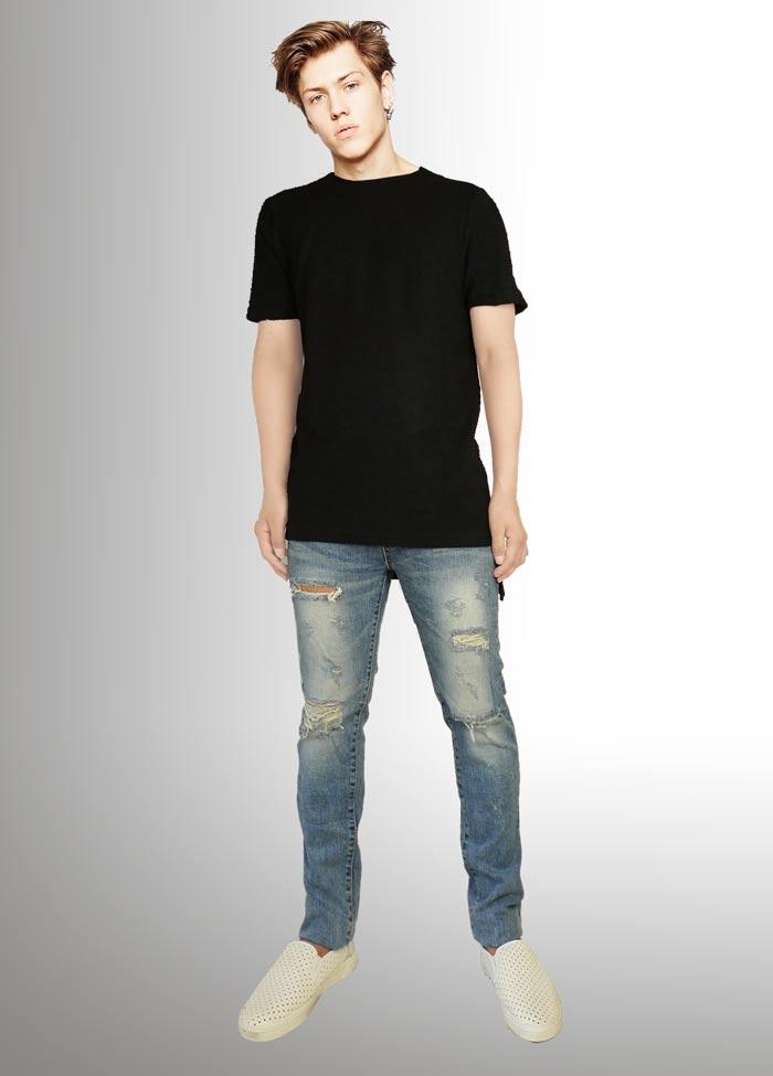 41d0001d252d ... Black T-shirt over size T-shirt Imprssve long length uneven men T- ...