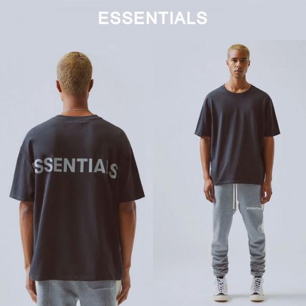 Fear of God (フィアオブゴッド) FOG ESSENTIALS (エッセンシャルズ)ビックtシャツ トップス tシャツ ユニセックス メンズ 半袖 ブラック ロック系 パンク系 グランジ)無地 ブランド メンズ 夏コーデ ストリートファッション モード系