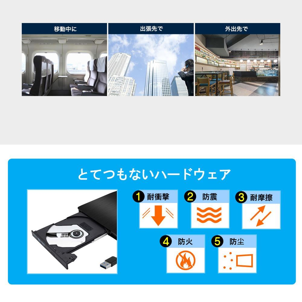 DVDドライブ CDドライブ 外付け DVDド ドライブ CD/DVD-RWドライブ Windows10対応 USB 3.0対応 書き込み対応 読み込み対応