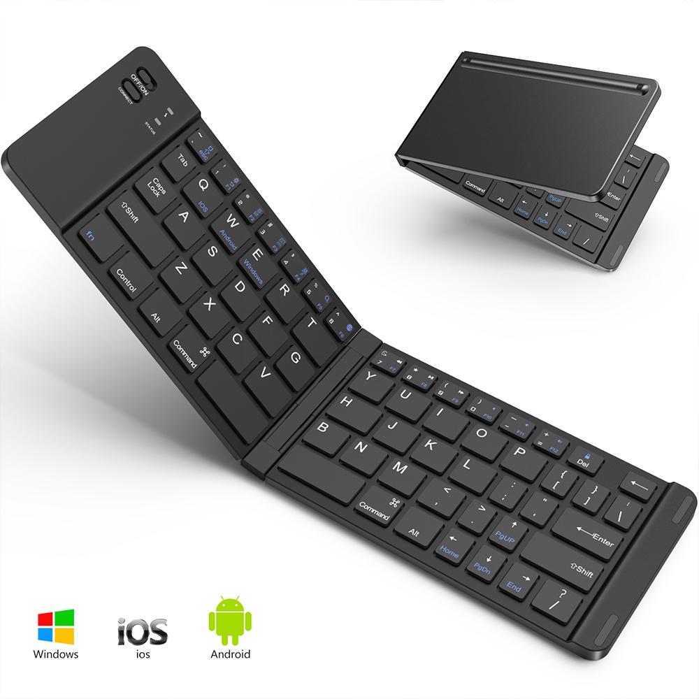 Bluetoothキーボード 折りたたみ式 143g 超軽量 ワイヤレスキーボード iOS/Android/Windowsに対応 USB充電 薄型 持ち運び便利 専用ケース付き スタンド機能付きブラック