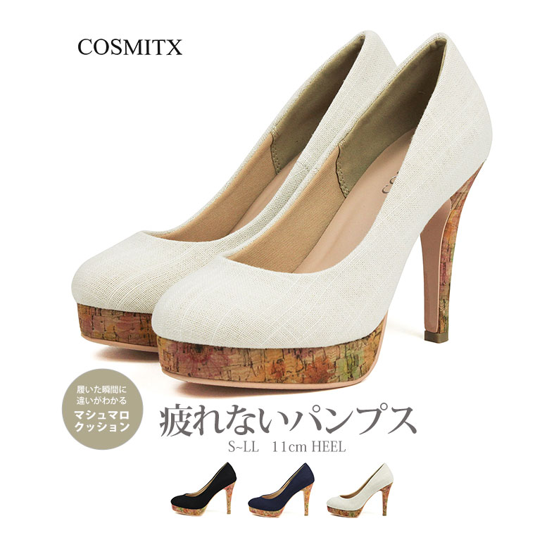 d18989c901c597 COSMITX high repulsion cushion round toe pumps lady s pumps black 3e  high-heeled shoes pin heel wedding ceremony ceremonial occasion shoes beige  navy canvas ...