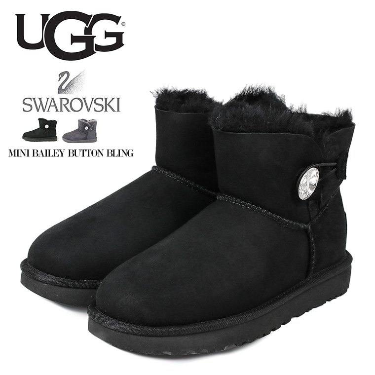 369cbf92f8d UGG Swarovski mouton boots Lady's UGG MINI BAILEY BUTTON BLING genuine  leather スエードシープスキンアグミニベイリーボタンブリ ...