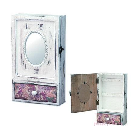 フレンチカントリー La pensee 木製 キーボックス ミラー付き ペイズリー柄 ホワイト アンティーク風 ヨーロピアンインテリア アクセサリーケース ジュエリーケース ラック シェルフ 鏡