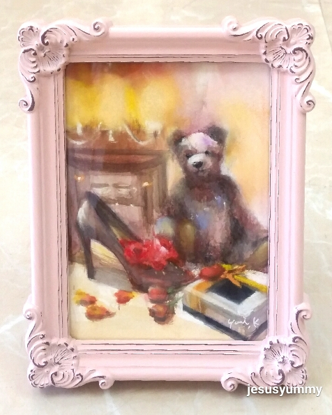 絵画 原画 「ヴィオレットの待つ部屋で」 水彩/パステル アンティークピンク フォトフレーム ヨーロピアンインテリア 額縁 写真たて Yumi Kohnoura作  テディベア クマ 壁掛け・卓上両用