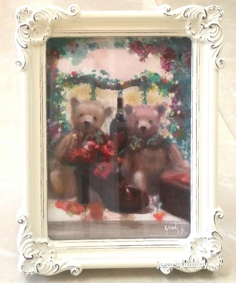 絵画 原画 「welcome bears」 水彩/パステル アンティークバニラ ホワイト フォトフレーム ヨーロピアンインテリア 額縁 写真たて Yumi Kohnoura作  テディベア クマ ハワイアン 壁掛け・卓上両用