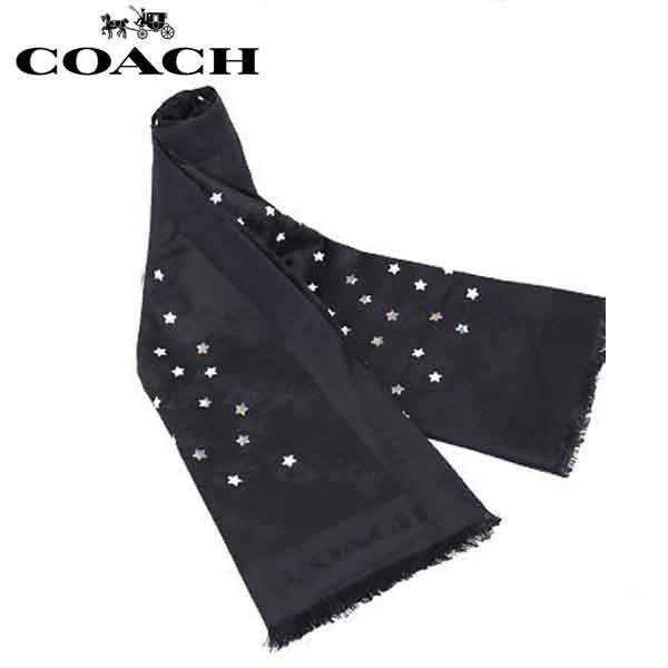 【送料無料】F24190 BLC コーチ COACH アパレル スカーフ ブラック×マルチ スター レディース アウトレット品