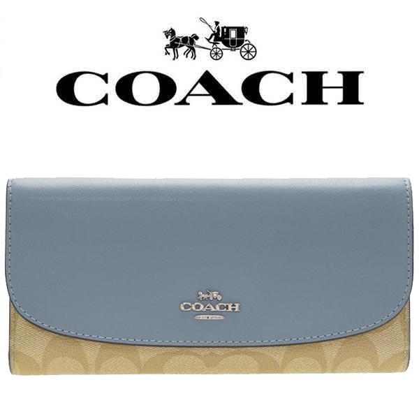 【送料無料】F57319 SVB3K コーチ COACH 財布 長財布 ライトカーキ×プール シグネチャーPVC チェックブック アウトレット