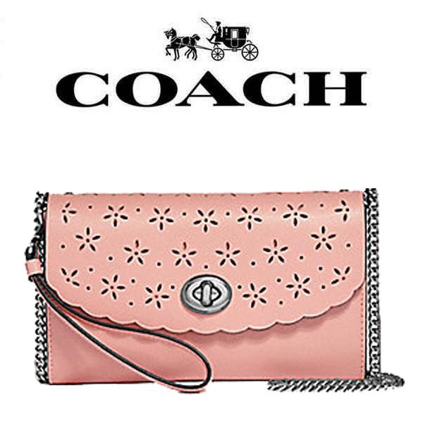 【送料無料】F58072 SVOE9 コーチ COACH バッグ ショルダー ピンク 花柄 チェーン クロスボディー アウトレット レディース