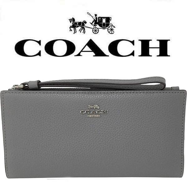【送料無料】F73156 SVHGR コーチ COACH 財布 ヘザーグレー ストラップ付 長財布 レザー アウトレット レディース