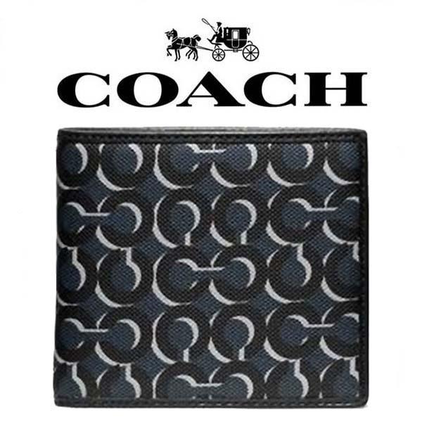 【送料無料】F74469 NAV コーチ COACH 財布 二つ折り財布 メンズ ネイビー ダブル ビルフォールド(小銭入れ無し)アウトレット